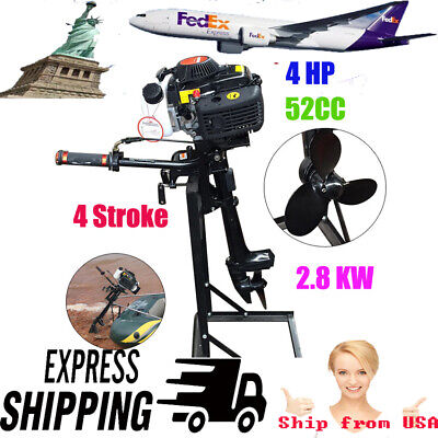 Usa Hangkai 4 Stroke 4 Hp Outboard Motor 52cc Boat Engine Air Cooling System New