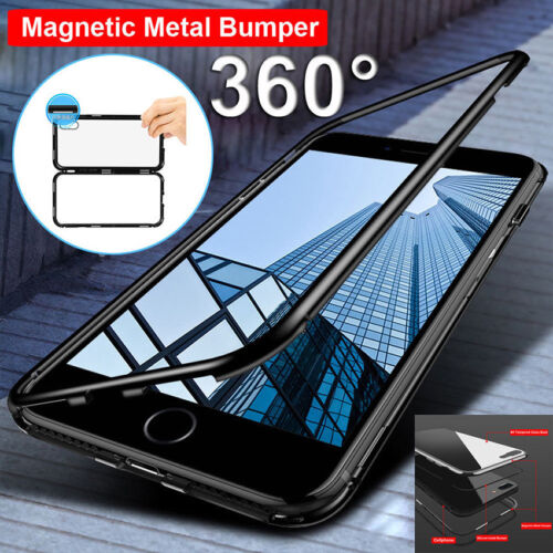 For iPhone X 8 7 Plus 360° Magnetic Adsorption metal Case Tempered Glass Cover