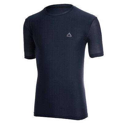 Kalif Mens Athletic GYM Fitness Training Workout Clothes Short Sleeve Navy L