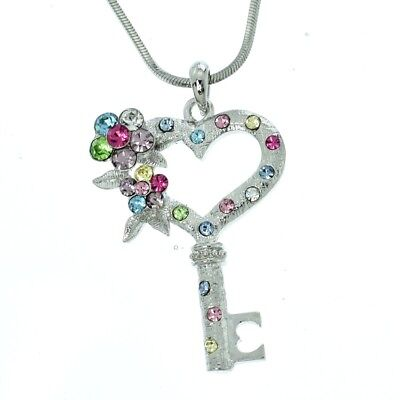W Swarovski Crystal Multi Color Heart Key Flower Pendant Necklace Jewelry