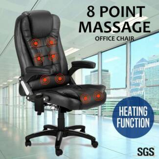 New Black Reclining PU Leather Home Office Computer Massage Chair