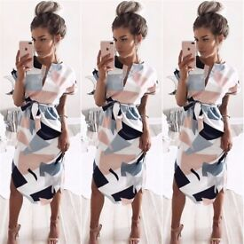 Multi colored print slim sheath dress casual dresses for her