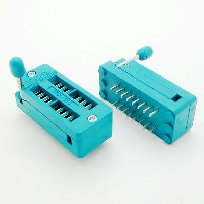 2 Pcs Zif 16-pin 16 Pins Test Universal Ic Socket 16 Pin Dip