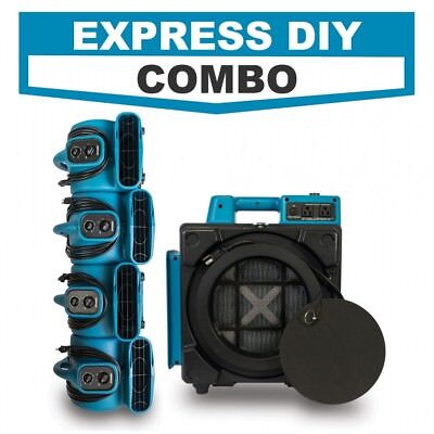Water Damage Restoration Express Diy Combo W Hepa Air Scrubber Air Movers