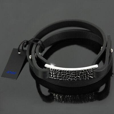 JOOP! Armband Herren Leder Schmuck Lederband TEXTURE Edelstahl JPBR10313A220 NEU