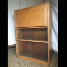 Wonderful Vintage Solid Wood (Oak?) Lockable Bureau/ Bookcase
