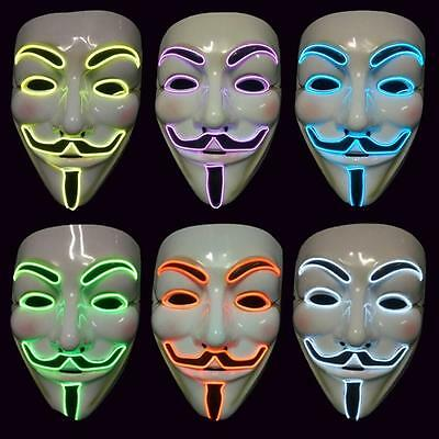 Hot El Light Up LED Mask V for Vendetta Anonymous Guy Fawkes Costume Cosplay