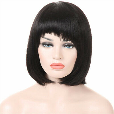 Black Straight Short Wigs With Bangs For Women Synthetic Bob Hairstyle Full Head