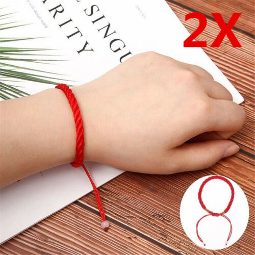1Pair Feng Shui Red Rope String Lucky Charm Bracelet for Good Luck Wealth Health