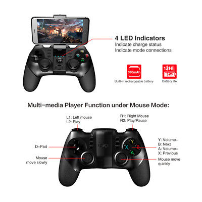 3-in-1 USB Bluetooth Wireless Gamepad Game Controller for Mobile Phone Android