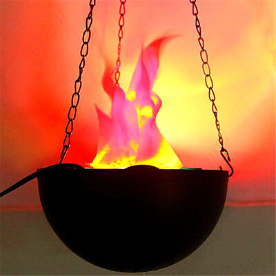 LED Fake Flame Effect Lamp Torch Light Fire Campfire Centerpiece with Pot USA (Halloween Fake Fire Effect)