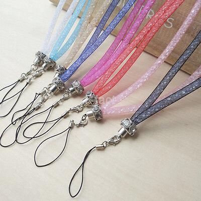 Rhinestone Bling Crystal Beads Cell Phone Holder Key Chain Wristlet Lanyard Hot