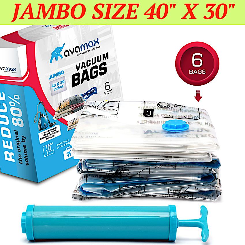 Jumbo 40x30 - 6 Pcs.Vacuum Seal Storage Space Saver Bags, Co