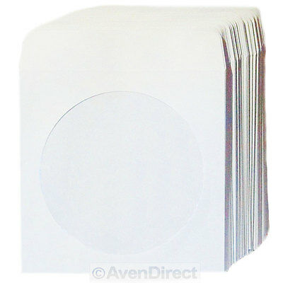 2000 Premium White Paper Sleeve 100P Window Flap CD DVD Ship Fedex Ground Fast!