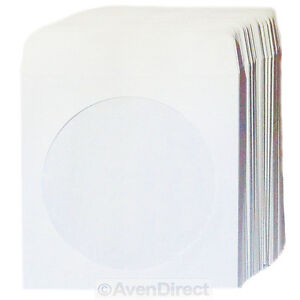 2000 Premium White Paper Sleeve 100P Window Flap CD DVD Ship Fedex Ground Fast!