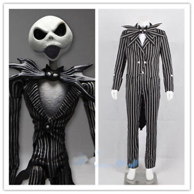 The Nightmare Before Christmas Cosplay Jack Skellington Costume Stripe Suit New: