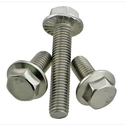 25 PCS Stainless Steel A2-70 M6-1.0 x 35mm Flanged Hex Head Bolts Flange Hexagon Screws