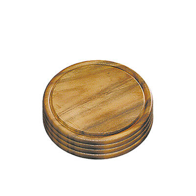 4 Stück Fleischteller Akazie rund  25 x H: 1,5cm Schneidebrett Servierteller