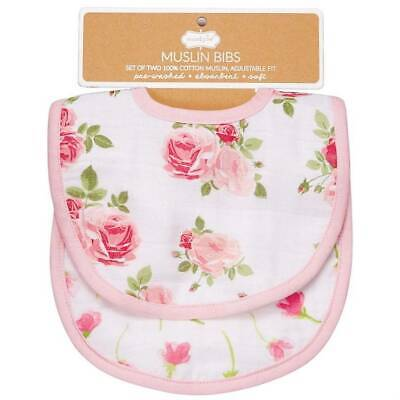 Mud Pie Garden Rose Floral Bella Muslin Bib Set of 2 (Rose Burp Cloth Set)