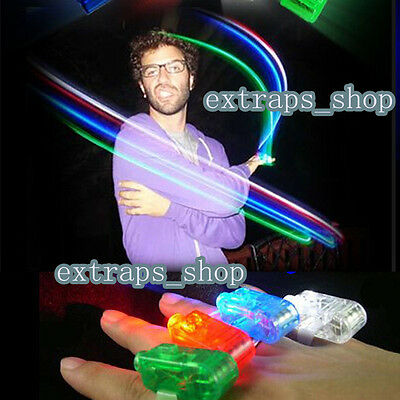 4PCS LIGHT UP LASER FINGER LED RING RAVE PARTY FAVORS GLOW BEAMS TORCH BRIGHT PS