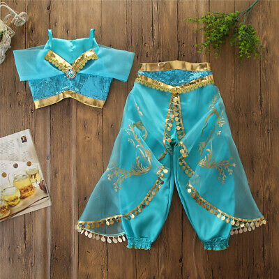 Kids Aladdin Costume (US Elegant Aladdin Jasmine Kids Girls Cosplay Costume Halloween Dress)