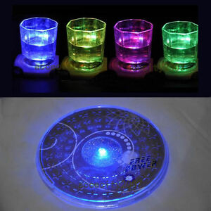 New Color Changing LED Lights Bottle Cup Mat Coaster For Clubs, Bars Party