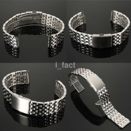 New Stainless Steel Watch Band 18/20/22mm Wristband Bracelet Strap Clasp Silver