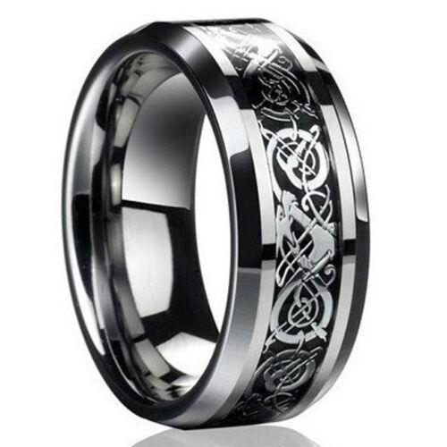 Fashion Silver&Gold Celtic Dragon Titanium Stainless Steel Men Wedding Band Ring