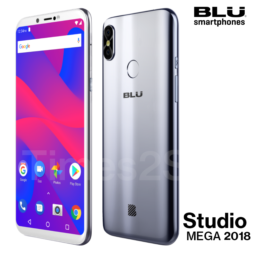 "Android Phone - Blu Studio Mega 2018 6.0"" HD Unlocked Phone Android Oreo (Go Edition) Silver New"
