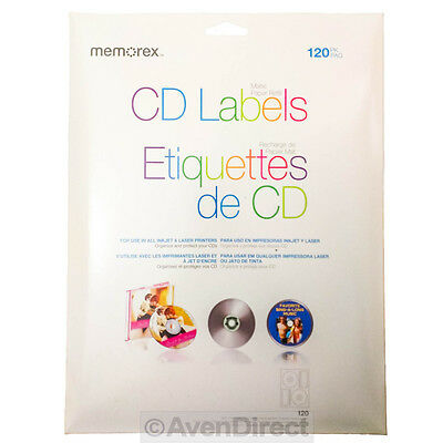- 600 Memorex CD DVD White Matte Paper Inkjet Laser Labels [FREE PRIORITY MAIL]