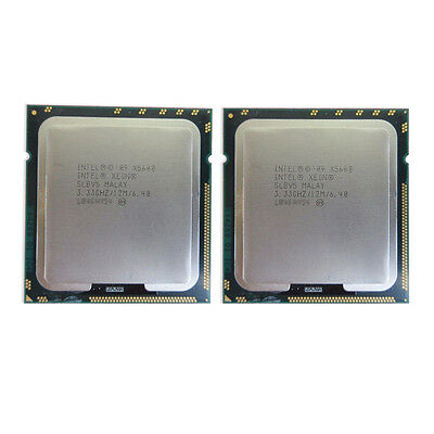 2x Intel XEON X5680 3.33 GHz 12MB SLBV5 6 Core 6.40GT/s LGA1366 Matched Pair CPU