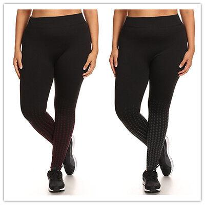 PLUS SIZE FLEECE-LINED HIGH WAIST OMBRE GEO PRINT  SPORT LEGGING (Fleece Print Jeans)