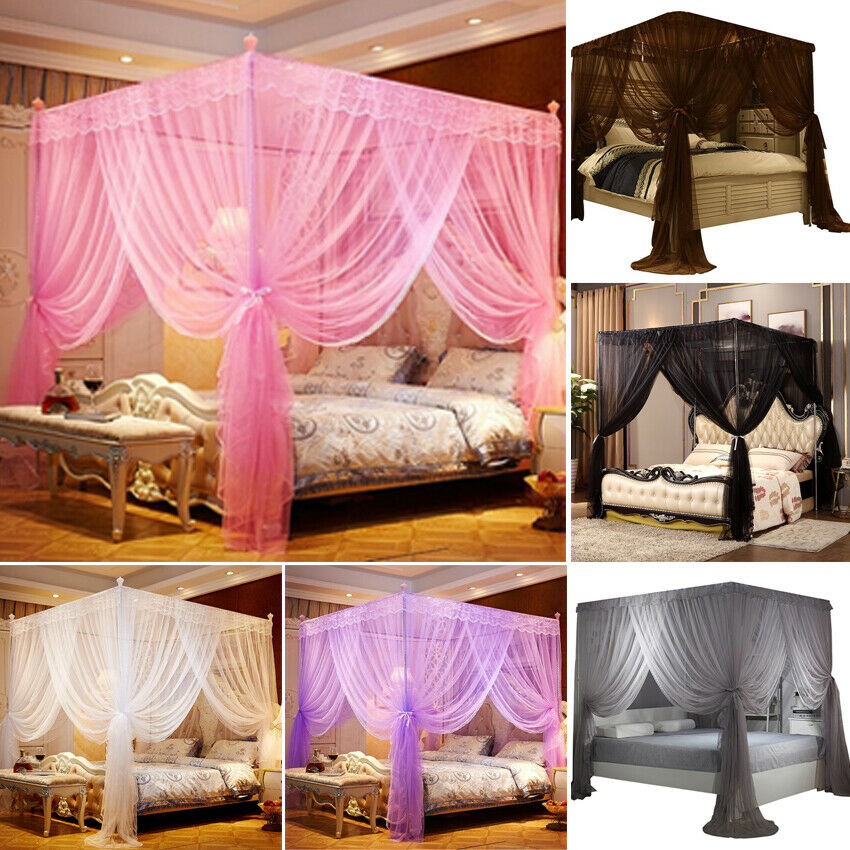 Four 4 post functional bed canopy mosquito net Twin Queen California King+Frame