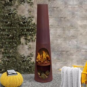 Santiago Outdoor Rust Fire Pit Chiminea Backyard Fireplace Garden Patio Heater