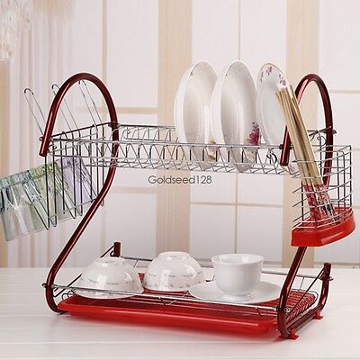 Kitchen Storage - 2Tiers Stainless Steel Dish Drainer Drying Rack Space Saver