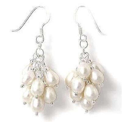 Natural White Akoya Cultured Pearl Grape Dangle Earring Silver Hook AA