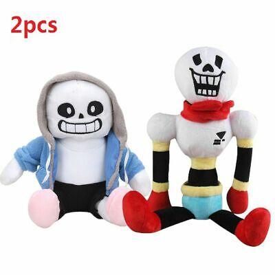 2PCS Undertale Sans Papyrus Plush Stuffed Doll Toy Hugger Cushion Cosplay Gift