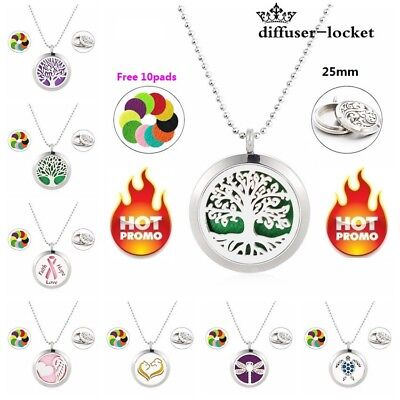 Stainless Steel Locket Necklace Fragrance Essential Oil Aromatherapy Diffuser