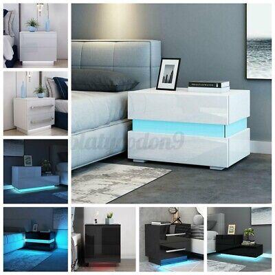 RGB LED Lighting Nightstand 2 Glossy Drawer Modern Bedside End Table Black White