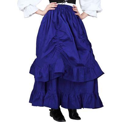 Steampunk Victorian Costume (Women's Plus Blue Ruffled Steampunk Victorian Pirate Wench Costume Layered)