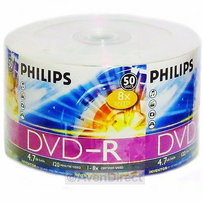 50 New Philips 8X Silver Logo Dvd R Dvdr Tape Wrapped  Free Usps Priority Mail