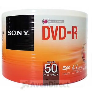 50 New Sony 16X Silver Logo AccuCORE 4.7GB DVD-R DVDR [FREE USPS Priority Mail]
