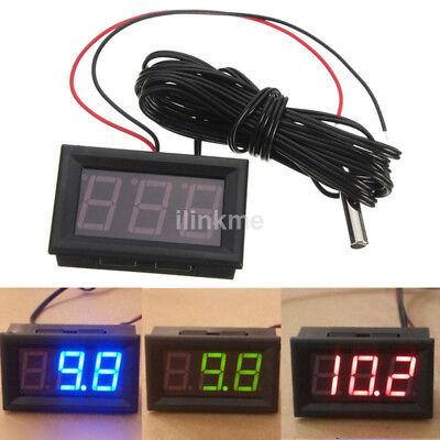 Pro Dc 12v Led Digital Thermometer W Sensor Probe -50110c Temperature Detector