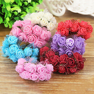 144Pcs Foam Mini Roses Head Small Flowers Wedding Home Party Decoration craft - Foam Flower