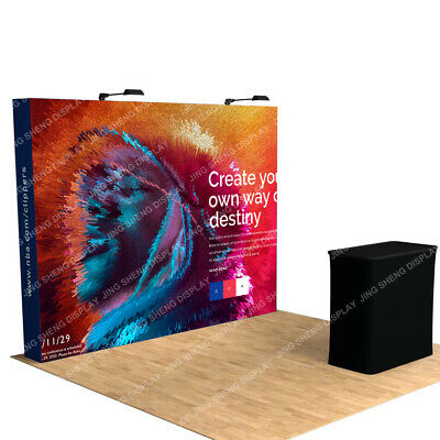 10ft Pop Up Stand Trade Show Display Booth Backdrop Wall Frame With Custom Print