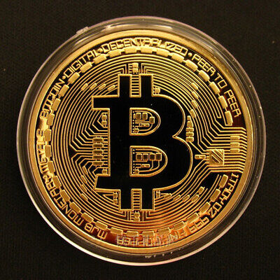 1PC Gold Bitcoin Commemorative Collectors Gold Plated Bit Coin 2021 New