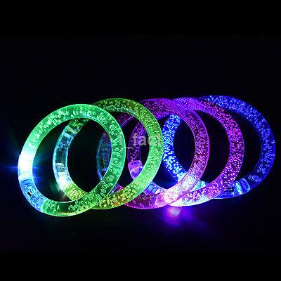 1Pc Glow Luminous LED Light Up Bracelet Wristband Dance Party Flashing Bangle CA