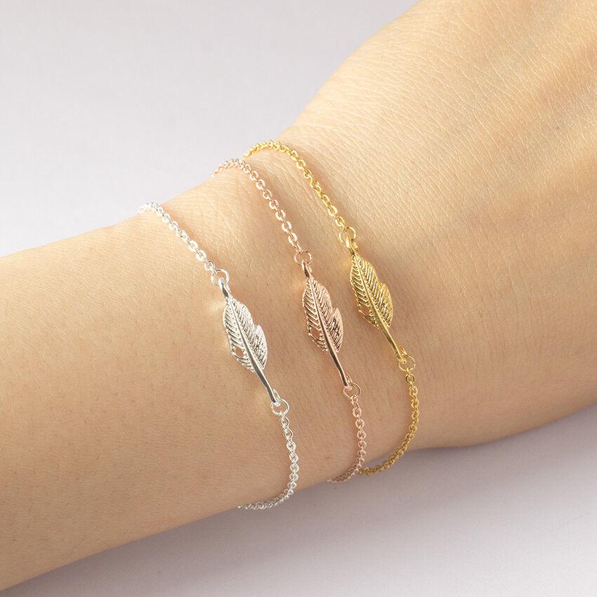 Feder Damen Armband Kette Armkette Edelstahl Armbänder Schmuck Blatt Leaf