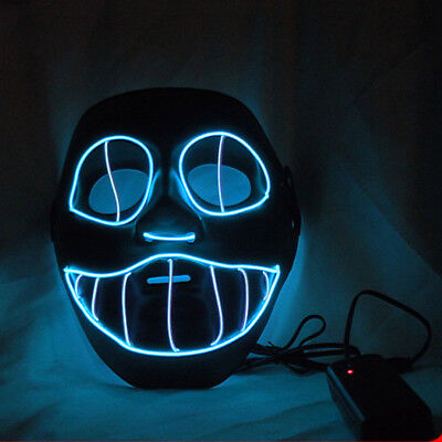 Light Up LED Face Mask Makeup Prom Props Scary Clown Face Mask EL Flashing