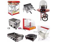GRIDDLES, HOT DOG ROLLERS, POPCORN MACHINES, CANDY FLOSS AND CREPE MACHINES, HOT FOOD WARMERS